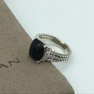 David Yurman Petite Wheaton Black Onyx Ring Size 7